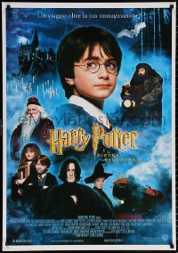 9c188 HARRY POTTER & THE PHILOSOPHER'S STONE 28x40 Italian commercial poster 2001 cast montage!