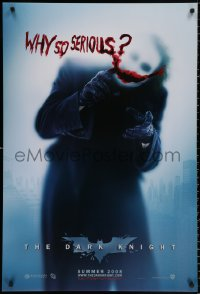 9c553 DARK KNIGHT teaser DS 1sh 2008 great image of Heath Ledger as the Joker, why so serious?