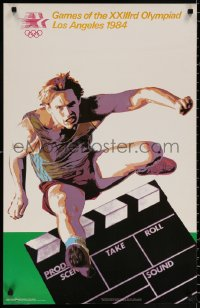 9c240 1984 SUMMER OLYMPICS 22x34 special poster 1983 cool art of Olympic hurdler by Garza & Marsh!