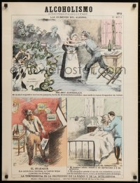 9c243 ALCOHOLISMO 24x31 French special poster 1900s warning about dangers of alcoholism, No. 427A!