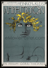 9c319 AMPHITRYON 23x32 East German stage poster 1981 wild art of a man with snake hair!