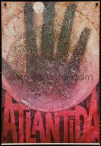9c324 ATLANTIDA 26x38 Czech stage poster 1983 wild close-up hand art by Cestmir Pechr!