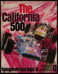 9c249 CALIFORNIA 500 22x28 special poster 1970 cool art of open wheel race cars in inaugural race!