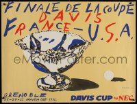 9c263 DAVIS CUP 23x30 French special poster 1982 different art of tennis racket & ball!