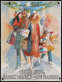 9c269 GOD JUL 24x31 Danish special poster 1980 Maggi Baaring art of a happy family carrying gifts!