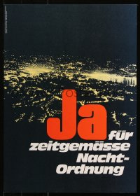 9c274 JA FUR ZEITGEMASSE NACHT-ORDNUNG 17x23 German special poster 1970s image of a city at night!