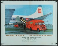 9c276 KEEPING IN TOUCH 29x36 English special poster 1960s GPO, General Post Office, at the airport!