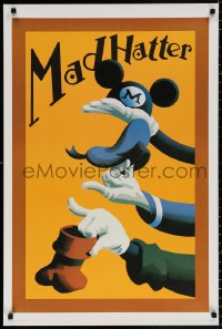 9c285 MAD HATTER 24x36 special linen poster 1980s Mickey Mouse, Donald Duck and Goofy holding hats!