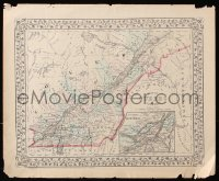 9c290 MAP OF QUEBEC 13x15 special poster 1872 area in Canada by Samuel Augustus Mitchell!