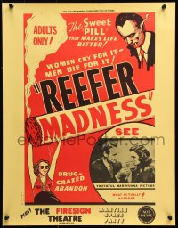 9c296 REEFER MADNESS 17x22 special poster R1972 marijuana is the sweet pill that makes life bitter!
