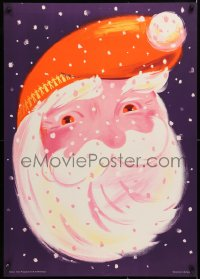 9c298 SANTA CLAUS 25x36 Swiss special poster 1950s great close-up art of him with red eyes!