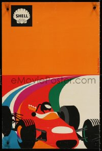 9c299 SHELL 16x24 French special poster 1970s cool different art of driver driving red race car!