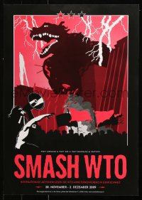 9c302 SMASH WTO 17x23 Swiss special poster 2009 Godzilla-like monster and protesters!