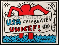9c312 UNICEF 17x22 special poster 1989 USA celebrates, great different art by Keith Haring!
