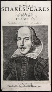9c315 WILLIAM SHAKESPEARE 17x30 special poster 1970 cool woodcut portrait by Droeshout!