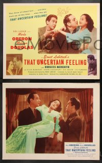 9g368 THAT UNCERTAIN FEELING 8 LCs R1944 Lubitsch, Merle Oberon with Melvyn Douglas & Meredith!