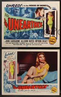 9g393 UNEARTHLY 8 LCs 1957 John Carradine & sexy Sally Todd lured to the house of monsters!
