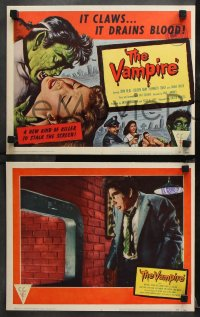 9g396 VAMPIRE 8 LCs 1957 John Beal, it claws, it drains blood, images of monster & victim!