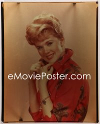 9h008 CONNIE STEVENS 16x20 transparency 1960s great smiling portrait wearing floral print jacket!