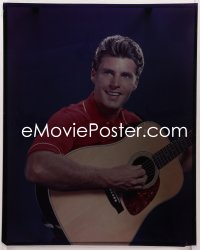 9h022 RICKY NELSON 16x20 transparency 1960s great smiling portrait of the star playing his guitar!