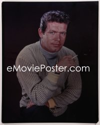9h029 STEPHEN BOYD 16x20 transparency 1960s great seated portrait with cigarette & striped sweater!