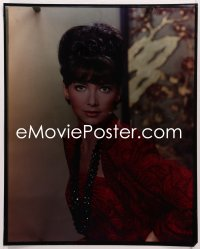 9h030 SUZANNE PLESHETTE 16x20 transparency 1960s sexy close portrait in red dress & cool necklace!
