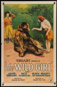 9w970 WILD GIRL 1sh 1925 Art Acord amazed by Louise Lorraine with tame black bear, ultra-rare!