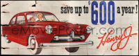 9x012 KAISER-FRAZER billboard 1940s great art of family in car, save up to $600 per year!