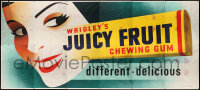 9x009 WRIGLEY'S GUM billboard 1950s art of pretty girl viewing giant Juicy Fruit chewing gum pack!