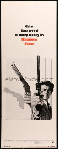 9x039 MAGNUM FORCE insert 1973 action image of Clint Eastwood as Dirty Harry pointing his huge gun!