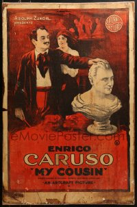 9x034 MY COUSIN 23x35 1sh 1918 famous Enrico Caruso as both sculptor and opera singer, ultra-rare!