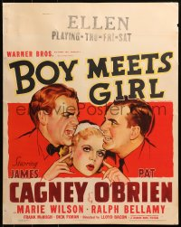 9x035 BOY MEETS GIRL jumbo WC 1938 Wilson between arguing Hollywood screenwriters Cagney & O'Brien!