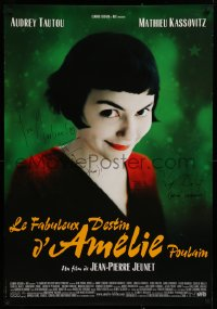 9y022 AMELIE signed French 27x39 2001 by BOTH director Jean-Pierre Jeunet AND Bruno Delbonnel!