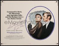 9y027 SOMETHING FOR EVERYONE signed 1/2sh 1970 by Angela Lansbury, close up with Michael York!