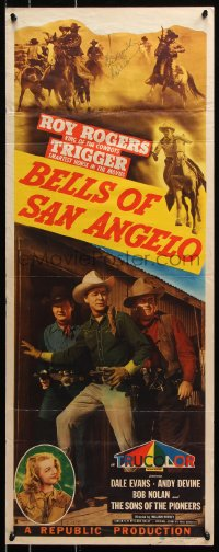 9y030 BELLS OF SAN ANGELO signed insert 1947 by Dale Evans, she's in Texas with Roy Rogers!