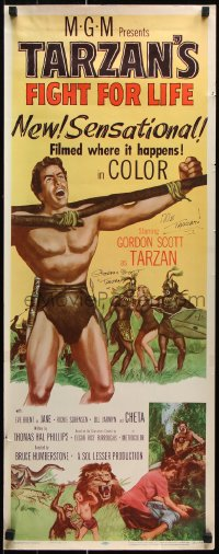 9y031 TARZAN'S FIGHT FOR LIFE signed insert 1958 by Gordon Scott, art of him bound with natives!
