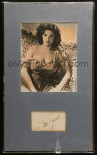 9y015 JANE RUSSELL signed 3x5 index card in 12x20 matted display 1950s ready to hang on the wall!