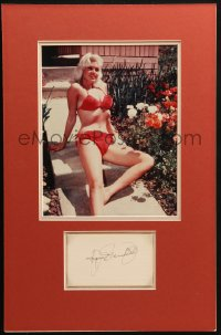 9y016 JAYNE MANSFIELD signed 3x5 index card in 12x19 matted display 1940s ready to hang on the wall!