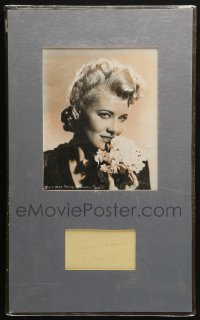 9y018 PENNY SINGLETON signed 3x5 index card in 12x20 matted display 1940s ready to hang on the wall!