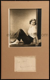 9y010 MARGARET SULLAVAN signed 4x5 cut album page in 11x18 display 1930s ready to frame & display!