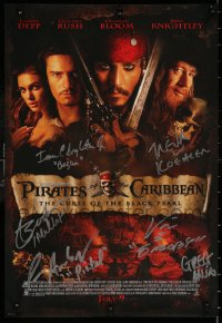 9y039 PIRATES OF THE CARIBBEAN signed mini poster 2003 by Singleton, Etienne & FOUR other people!