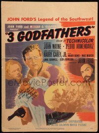 9y003 3 GODFATHERS signed WC 1949 by Harry Carey Jr., great art with John Wayne, John Ford directed!