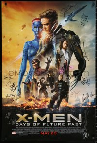 9y136 X-MEN: DAYS OF FUTURE PAST signed style D advance DS 1sh 2014 by Patrick Stewart & 16 others!