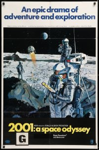 1f054 2001: A SPACE ODYSSEY style B Cinerama 1sh 1968 great Bob McCall moon men art, ultra rare!