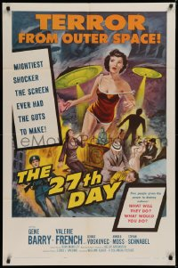 1f055 27th DAY 1sh 1957 terror from space, mightiest shocker the screen ever had the guts to make!