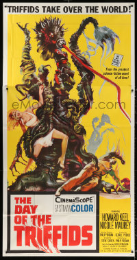 1f001 DAY OF THE TRIFFIDS 3sh 1962 classic English sci-fi horror, art of plant monster with girl!