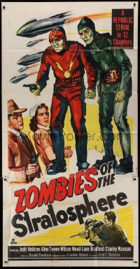 1f005 ZOMBIES OF THE STRATOSPHERE 3sh 1952 cool art of aliens with guns including Leonard Nimoy!