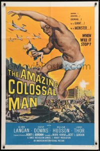 1f057 AMAZING COLOSSAL MAN 1sh 1957 AIP, Bert I. Gordon, art of the giant monster by Albert Kallis!