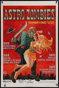 1f060 ASTRO-ZOMBIES 1sh R1971 great different art of creature holding sexy woman and machete!