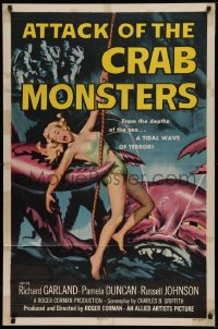 1f062 ATTACK OF THE CRAB MONSTERS 1sh 1957 Roger Corman, art of sexy girl attacked by beast!